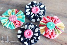 These fabric flowers are so fun and easy to make. I have used them on my mini Bakeshop Aprons and many other things. My 7 year old can make them and she loves it.  Here are the quick and easy steps! What You'll Need to make the Fabric Flowers: Material (12 in x 3 in …