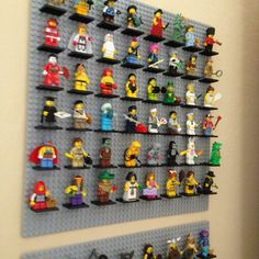 My DIY for my Lego minifig display! Large Lego base holds bases, hung with command picture Velcro strips