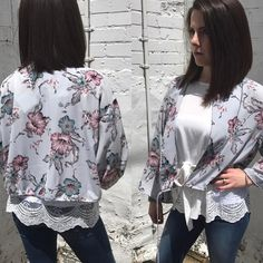 """The """"Floral Fields"""" jacket ($54) with a belled sleeve and a tie bottom. Styled over the """"Cherry on Top"""" top ($48)  FREE SHIPPING  Sanitystyle.com 440.893.9279 sales@sanitystyle.com  to order or shop in store    #sanitystyle #sanitychagrinfalls #shoplocal #chagrinfalls #shopchagrinfalls #boutique #freeshipping #cleveland #clevelandfashion #clevelandstyle #style #shop #cle #thisiscle #love #selloninsta #instasale #fashionpost #beautiful #picoftheday #shopping #shopaholic #retailtherapy…"""