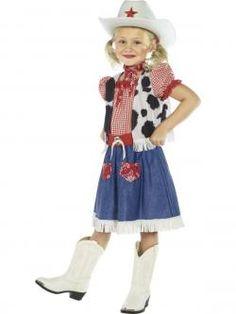 Joli déguisement de #Cowgirl pour Fille de 4 à 12 ans avec gilet et un chapeau blanc. Commande en ligne sur www.un-air-de-fetes.com !