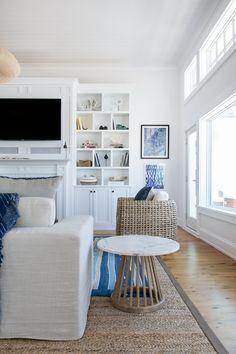 Bright white coastal living room