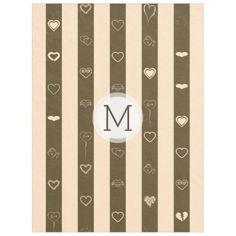 Monogram Donkey Brown Stripes Modern Heart Pattern Fleece Blanket - girly gifts special unique gift idea custom