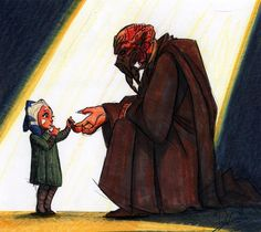 Early Star Wars: The Clone Wars concept art by Dave Filoni of Plo Koon recruiting a young Ahsoka Tano. Adorable!