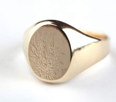 SALE - 14K Gold plated Signet ring with decoration, 14K Gold Filled Signet ring with decoration, Seal ring with decoration