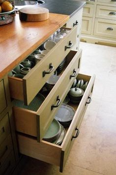 Dishes in drawers instead of in high cabinets?