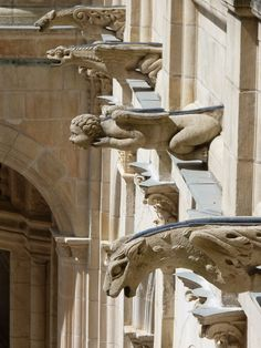 Gothic Architecture, Architecture Details, Statues, Gothic Gargoyles, Ange Demon, Dragons, French Chateau, Angels And Demons, Sculpture
