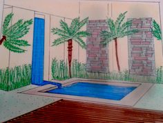 Primeiros passos - Área externa; feita a mão utilizando giz pastel e canetinhas magic color