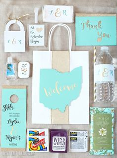 These personalized wedding guest gift bags are full of hotel essentials and such a welcoming touch!