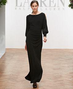 Lauren Ralph Lauren Dress, Split-Sleeve Boat-Neck Jersey Gown
