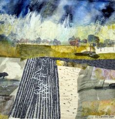 Textile artist, Caroline Dunn, 'Winter Landscape in the Dales' Landscape Textile art