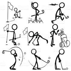 Stick Figura gente jugando al Golf illustracion libre de derechos libre de derechos