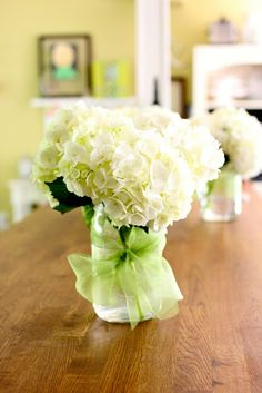Hydrangeas in burlap and organza wrapped mason jars....May Wrap-Up