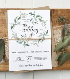 Modern Wedding Invitation, Rustic Chic