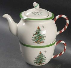 Spode Christmas Tree pattern tea for one stacking teaset (teapot and cup) ... w/ green trim, candy cane or peppermint striped handle, acorn knob ... original Christmas tree design 1938, porcelain, UK
