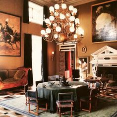 Le Salon Hollandais the dinning room at Chateau De Groussay by Emilio Terry