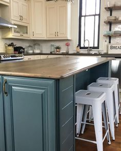 blue grey kitchens I have completed the kitchen island makeover.it feels so good to check this off my list.I love this blue grey that tends towards t. Kitchen Island Makeover, Diy Kitchen Island, Kitchen Reno, White Wood, Blue Grey, New Homes, Dining, Feels, House