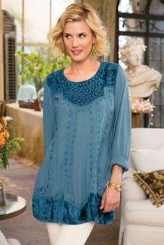Blue Moon Tunic - Velvet Tunic, Vintage Look Velvet Tunic | Soft Surroundings