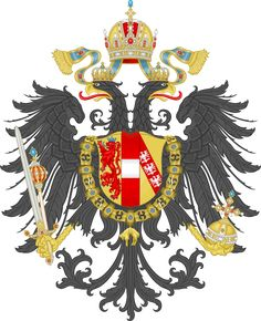Small coat of arms of the Austro-Hungarian Empire 1867–1915, with the Habsburg Order of the Golden Fleece superimposed on the Austrian Doubleheaded Eagle, and crested by the Crown of Rudolf II