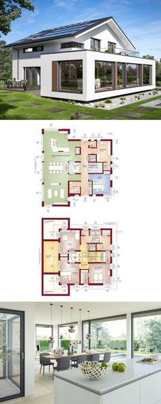 Designhaus mit Satteldach und Atrium - Haus Concept-M 210 Bien Zenker - Einfamilienhaus bauen moderne Architektur mit Erker Anbau bodentiefen Fenstern Grundriss offen mit Wohnküche - HausbauDirekt.de