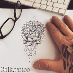 No photo description available Front Thigh Tattoos, Side Thigh Tattoos Women, Hip Tattoos Women, Tattoo Thigh, Forearm Tattoos, Mandala Tattoo Design, Dotwork Tattoo Mandala, Tattoo Designs, Body Art Tattoos