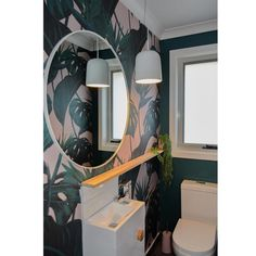 We are in love with this Birds of paradise wallpaper😍 it completely transformed this space! Paradise Wallpaper, Tropical Wallpaper, Feather Wallpaper, Bathroom Wallpaper, Decoration, Tapestry, Birds, Space, Projects