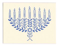 Send handmade holiday greetings with these beautiful blue and white letterpress cards. My original hand-drawn menorah illustration is printed in