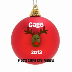 Personalized Thumbprint Reindeer Christmas Ornament DIY Kit-Free Shipping