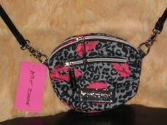 Only ONE DAY left on Ebay!!! Great CHRISTMAS gift idea!!   NEW Betsey Johnson Mini Crossbody Bag Cheetah Grey Black Red Lips Messenger Bag