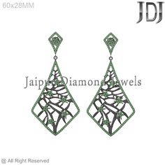 Pave Gemstone Filigree Fashion Design Party Wear Natural Gemstone Earring #Handmade #DropDangle