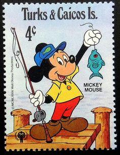 Topolino pesca - fatti a mano con cornice del francobollo arte 19752