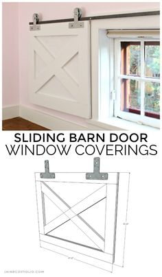 sliding barn door window coverings