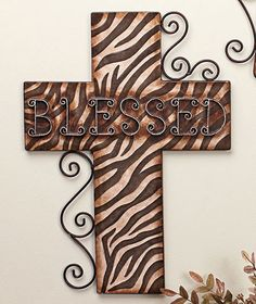 "wooden cross wall art pics | ... BLESSED BELIEVE FAITH ANIMAL PRINT 18"" METAL CROSS WALL DECOR ART"