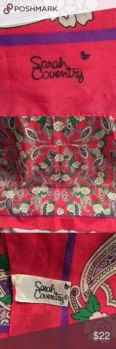 """Sarah Coventry paisley floral scarf Sarah Coventry paisley/floral scarf. Purple/pink/green. Excellent condition with the tag starting to come off. 31""""x31"""" square. Sarah Coventry Accessories Scarves & Wraps"""