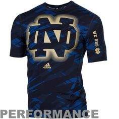adidas Notre Dame Fighting Irish Sideline Elude Fitted Performance T-Shirt - Navy Blue Camo