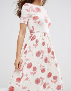 Image 3 ofASOS Midi Dress In Floral Print With Short Sleeve