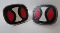 Vintage German Enamel Cloisonne Cufflinks, probably Perli, Modernist, Red White Black Geometric