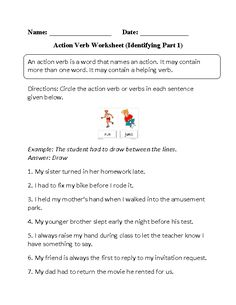 Capacity Worksheets Ks1 Action Verbs In Context Worksheet  Great English Tools  Independent And Dependent Variable Worksheets with Seasons Worksheet Kindergarten Excel Identifying Action Verbs Worksheet Part  Nouns Worksheets For Kindergarten Excel