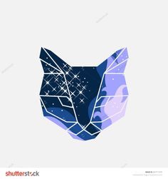 Vector unusual geometric illustration with space cat of triangles  in origami…