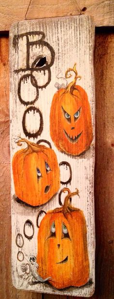 BOOooooo.....Halloween Fun. Take a Jack o lantern, mischievous mouse, hidden ghost and 3 emotional pumpkins to help ring in the Halloween season. This rustic, wooden sign is hand painted with acrylic paints on a reclaimed piece of barn (shed) wood, cleaned and gently sanded to preserve the natural feel of the wood. A great way to welcome trick or treaters or decorate a hallway or mantle. It is very lightweight 16 3/4 inches x 5inches x 1/2inch. It can be hung by the included jute st...