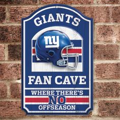 "Product # HC5729 - NFL FAN CAVE SIGN welcomes visitors to your football-viewing domain! Proclaim your loyalty and deck out your den, basement, family room or sports shrine with this colorful wall sign featuring your favorite team's helmet and logo. Has pre-drilled hole for hanging. Pressed-wood board construction. 17"" H x 11"" W. Made in USA. $29.98"