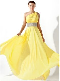 Vestido amarelo um ombro só