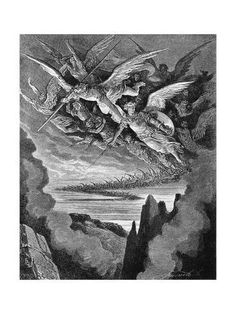 Illustration from: Paradise lost by John Milton; Edited by Henry C. Walsh, A. Illustrated by Gustave Doré; New York: John W. Lovell Company, exact date of publication unknown, ca. Milton Paradise Lost, Gradient Color, Printing Process, Find Art, Framed Artwork, Giclee Print, Ink, Prints, Poster