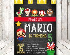 Mario Bros Invitation / Mario Bros Birthday by MMEIdesign on Etsy