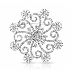 Silver Tone Large Swirl CZ Snowflake Winter Brooch Pin ($37) ❤ liked on Polyvore featuring jewelry, brooches, christmas, accessories, clear, snowflake pendant, snowflake brooch, vintage pins brooches, vintage broach and christmas jewelry