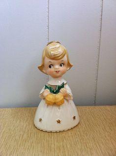 Vintage Christmas Angel Bell Figurine