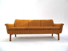 Midcentury Norwegian Orange & Yellow Wool Striped 3 Seater Sofa 1970s