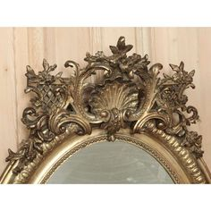 French Regence Gilded Oval Mirror Detail, www.inessa.com
