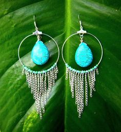 tribal turquoise hoop earrings with silver plated chain by jaidith