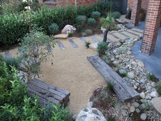 Modern Australian Native Japanese Garden – Waterfall and River/Pond. Front Garden, Entryway Path – Sandstone Boulders, River Pebbles, Recycled railway Sleepers, Crushed Granite, Westringia, Flax, Kangaroo Paw, Blue Fescue Grass Garden Makeover, Australian Garden, Fence, Bamboo, Outdoor Decor, Home Decor, Composite Fencing, Homemade Home Decor, Interior Design