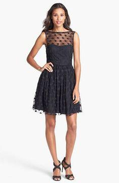 Jill Jill Stuart Polka Dot Mesh Fit & Flare Dress | Nordstrom